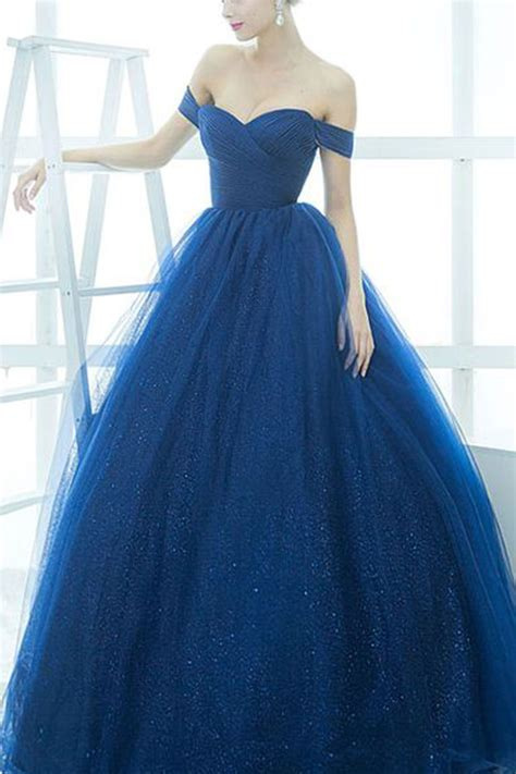 ball gown and prom dresses off shoulder prom dress ball gown sparkly royal blue