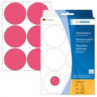 Etiketten Rund 50mm Durchmesser by Herma Etiketten Rund 50mm 2286 Leuchtrot 144 St 252 Ck Eoffice24