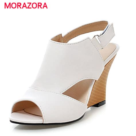 Best Item Wedges Resleting R29 Quality large size 34 43 new arrival high quality buckle wedge sandals sweet summer