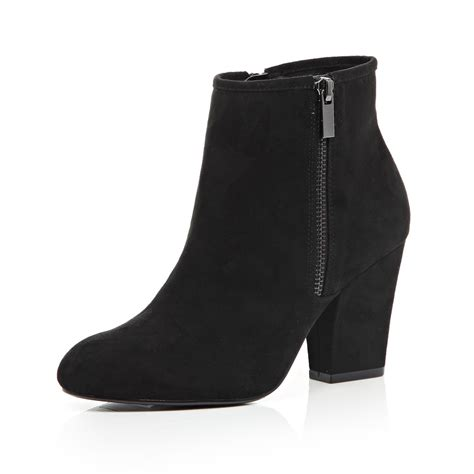 Heeled Ankle Boots lyst river island black zip side heeled ankle boots in black