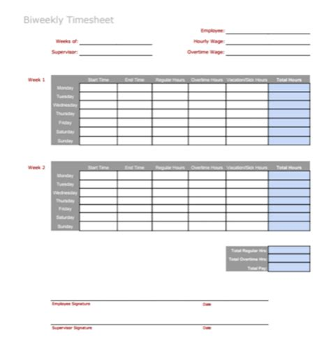 3 Timesheet Templates To Pay Employees With Ease Employee Bi Weekly Timesheet Template
