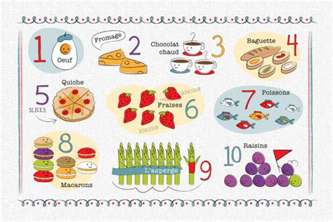 kids french first steps 1847110495 kids french number and food chart placemat