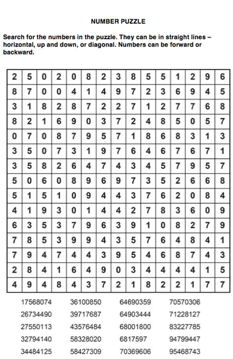 Search For Number Puzzles For Dec 16 Number Search Sudoku Word Search Crossword Ieyenews