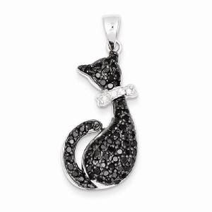 Bow Silver Pendant With Cubic Zirconia P 172 new solid 925 sterling silver black white cat pendant bow cubic zirconia ebay