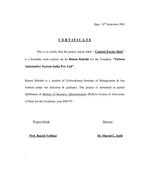 Report Duty Letter Project Report On Central Excise Duty