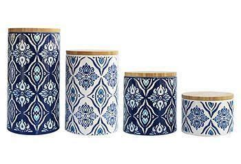 enthralling kitchen modern ceramic and wood canister set spice of 4 pc pirouette blue white canister set kitchenware