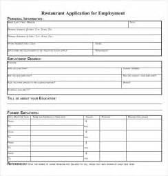 Employment Application Template Pdf by 10 Restaurant Application Templates Free Sle