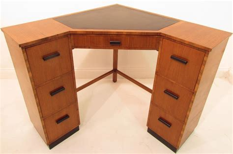 Walnut Corner Desk A Antique Deco Light Walnut Corner Desk Ebay
