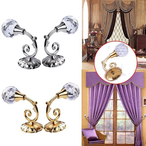 where to hang curtain tie backs on wall new 2pcs large metal crystal ball curtain hooks tassel
