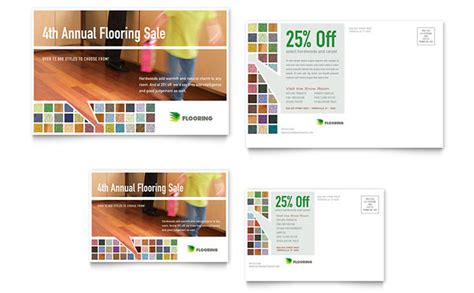 carpet hardwood flooring postcard template design