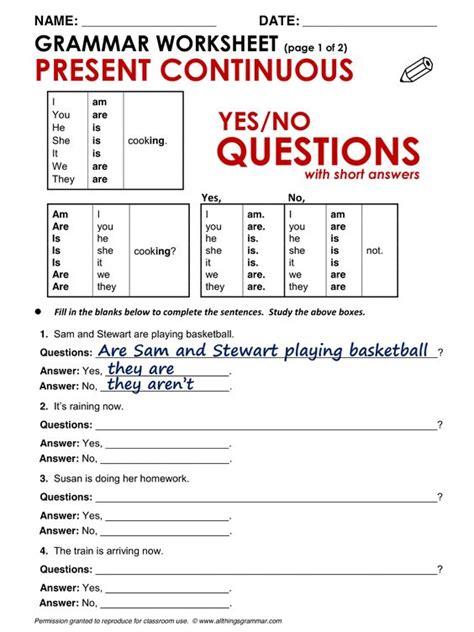 preguntas con present progressive english grammar yes no questions present continuous www