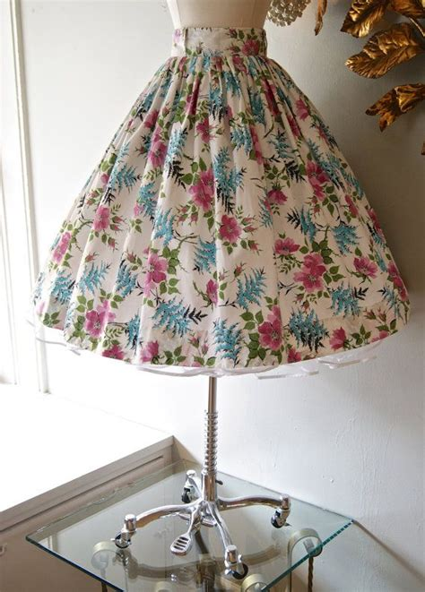 50s skirt vintage 1950s bright floral pleated skirt