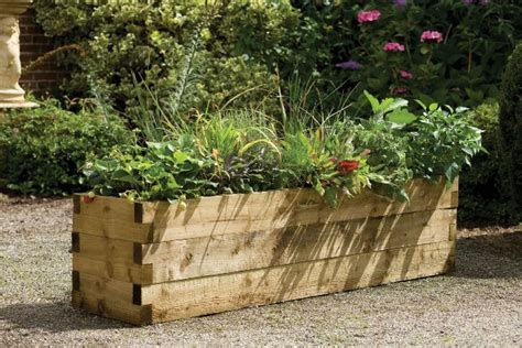 teak holz gartenmöbel uk 1 8m timber caledonian raised bed planter 163 92 99
