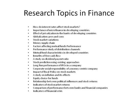 research paper of finance research topics in finance research papers