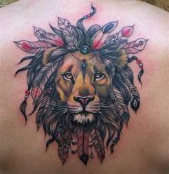 indian lion tattoo lion with feather head dress inner vision tattoo