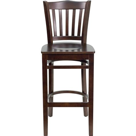 restaurant bar stool walnut finished vertical slat back wooden restaurant