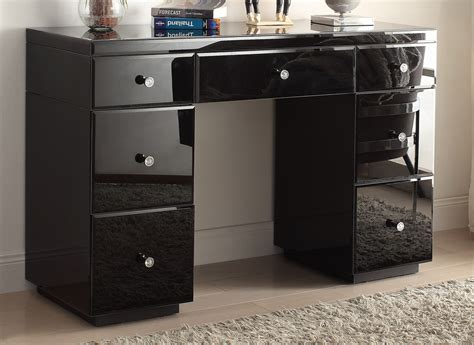 vanity desk with mirror rio crystal black glass mirrored dressing table mirror