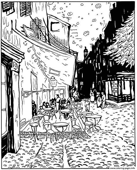 printable coloring pages van gogh adult van gogh le cafe de nuit coloring pages printable