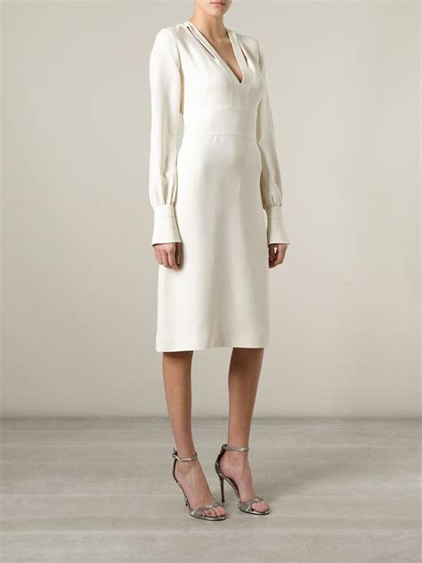 Alia Crepe Nadine Scraf Givenchy Crepe Scarf Midi Dress In White Lyst