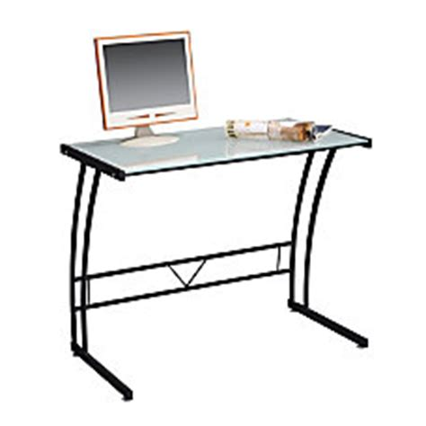 limble ii glass computer desk desks at office depot officemax