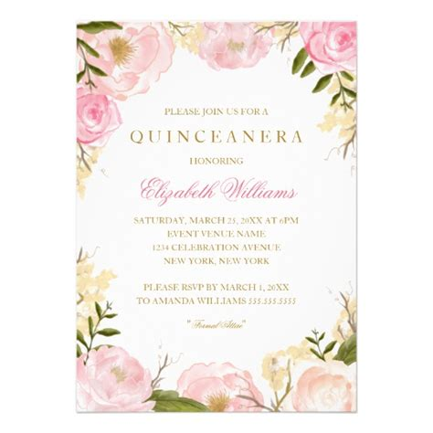 free printable quinceanera invitations elegant pink rose quinceanera invitation zazzle com
