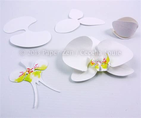 paper cutting card orchid template paper zen paper orchid birthday card