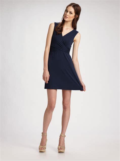 Dress Stretch theory wrap around stretch dress in blue navy lyst