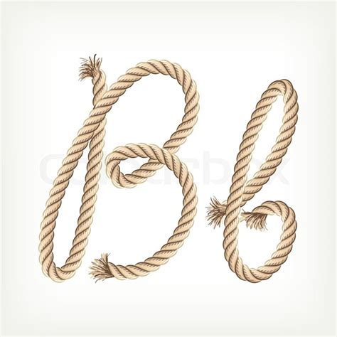 printable rope letters rope alphabet letter b stock vector colourbox