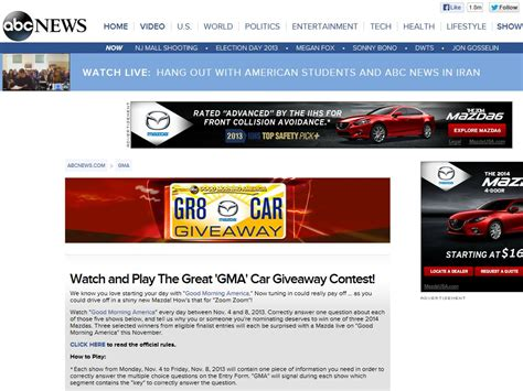 Gma Disney Sweepstakes - good morning america s quot the great gma car giveaway quot contest