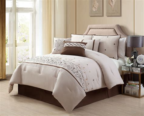 beige down comforter casual look bedroom decoration with