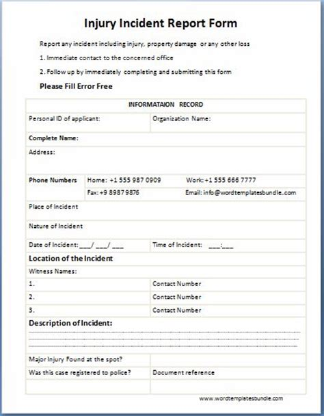 injury incident report form template injury incident report form images