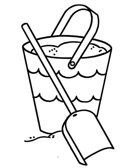 shovel and bucket full of sand coloring pages best place