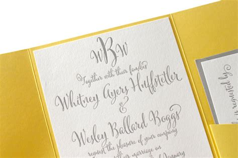 grey and yellow wedding invitations etsy the daffodil suite modern letterpress wedding invitation suite grey yellow pocket enclosure