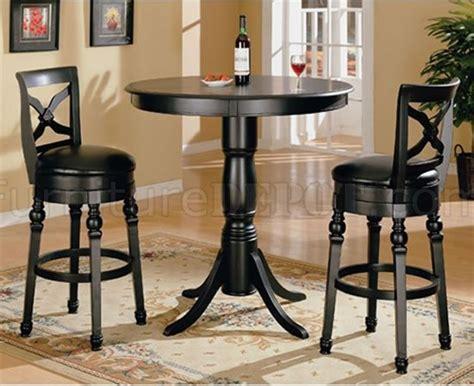 Kursi Stool Leather Klasik Set 2 classic black finish bar table with swivel bar stools