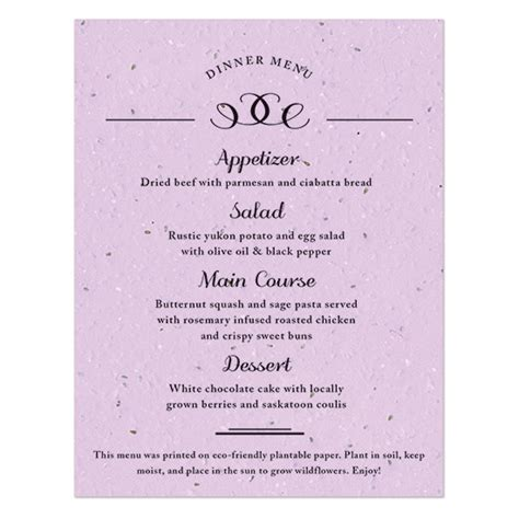 Formal Menu Card Template by Formal Text Plantable Menu Card Plantable Seed Wedding