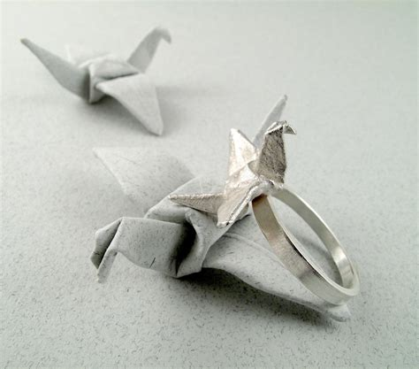 Ring Origami - origami jewelry silver crane ring origami crane ring origami