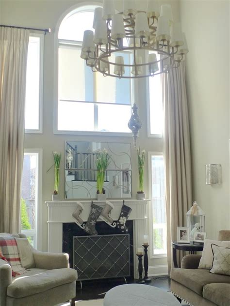Two Story Living Room Curtains by Drapes For Two Story Room Design Ideas
