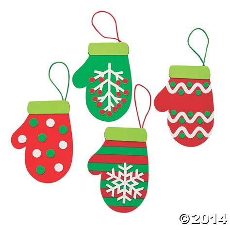 foam mitten christmas ornament craft kit 12 pk party