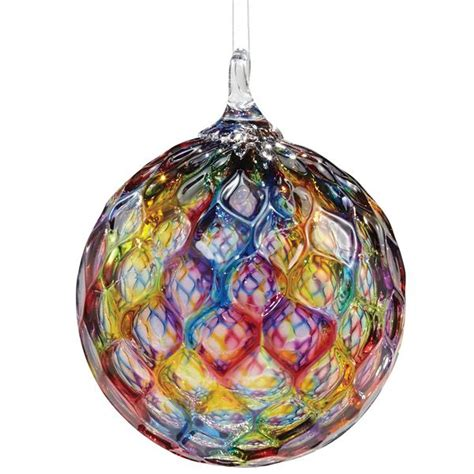 blown glass ornaments blown faceted rainbow glass hanging ornament