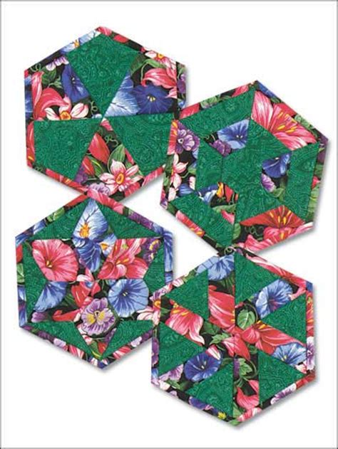 Quilted Coaster Pattern by Quilting Table Topper Quilt Patterns Hexagon Flowers