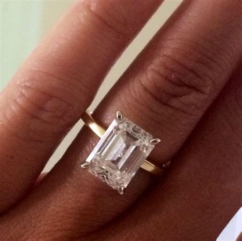 Dainty Engagement Ring Diana Engagement Ring Do by 4ct Or Whatever Rectangle Emerald Cut