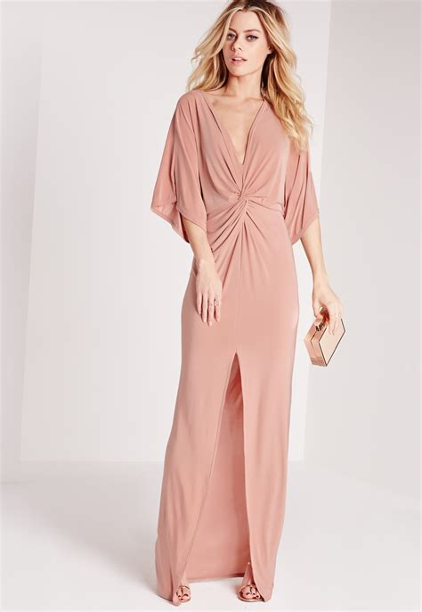 Dress Maxi One Shoulder Tosca missguided slinky kimono maxi dress pink in pink lyst