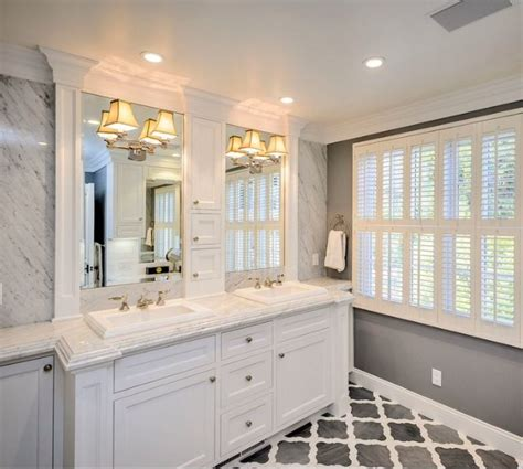 gray master bathroom ideas crown molding around mirrors trim master bath like