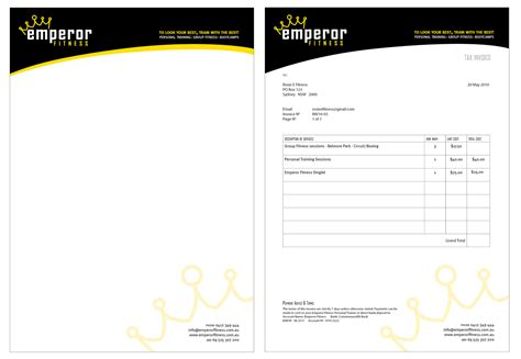 Invoice Letterhead Design Uts Projects Emperor Fitness Branding Fiona Learned