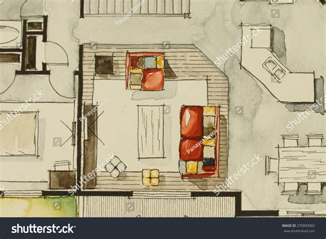 real estate watercolor 3d floor plan i on behance watercolor ink freehand sketch drawing partial stock photo