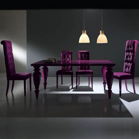 modern italian lacquered purple dining room set