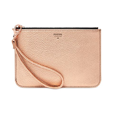 fossil metallic leather small zip pouch in metallic lyst