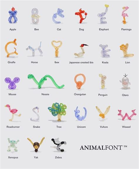 printable directions on how to make balloon animals alphabet made of balloon animals from the animalfont app