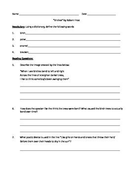 Poetry Analysis Worksheet Answers by Quot Birches Quot By Robert Poetry Analysis Worksheet By