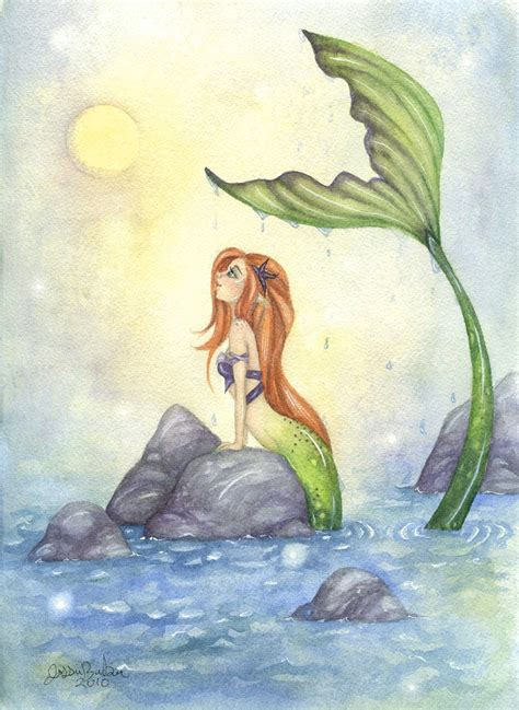 mermaid fairy fantasy art print mermaid dreaming ocean whimsical fairy
